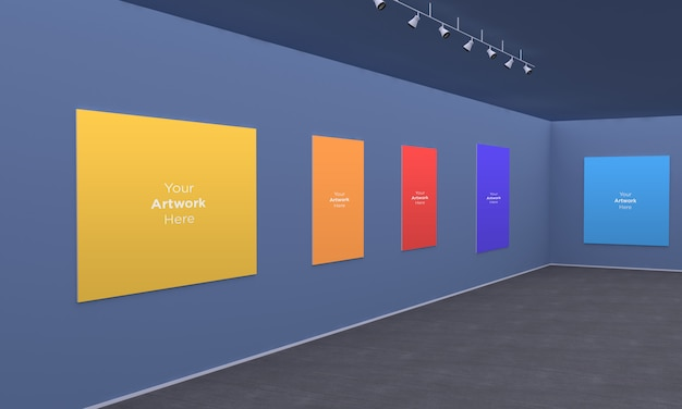 Ramki z galerii sztuki muckup ze światłami punktowymi widok narożnika ilustracji 3d