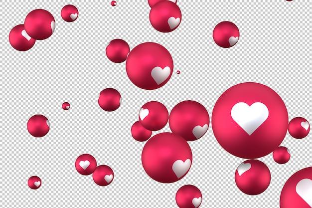 Reakcje na facebooku serce emoji 3d render symbol mediów społecznościowych balon z sercem
