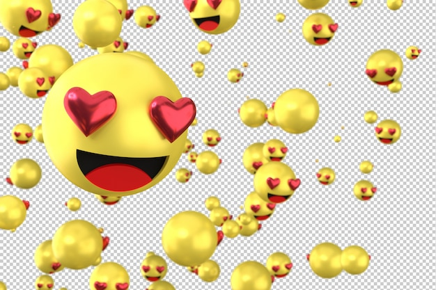 Reakcje na facebooku uwielbiają emoji 3d render na przezroczystym tle, symbol balon społecznościowy z sercem