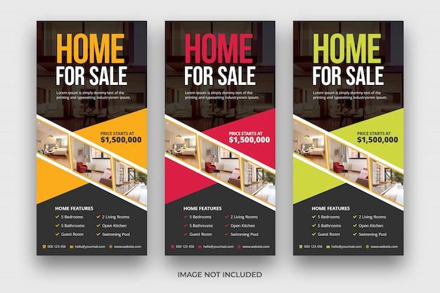 Real estate & realtor firmy nowoczesny dom na sprzedaż dl ulotki stojak szablon karty projektu