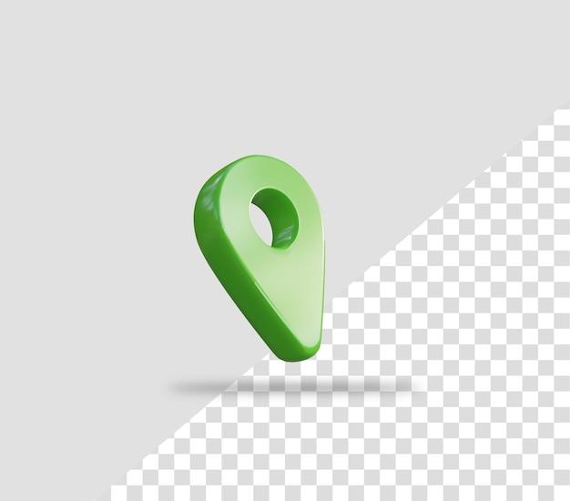 Realistyczna 3d zielona ikona lokalizacji pinezki