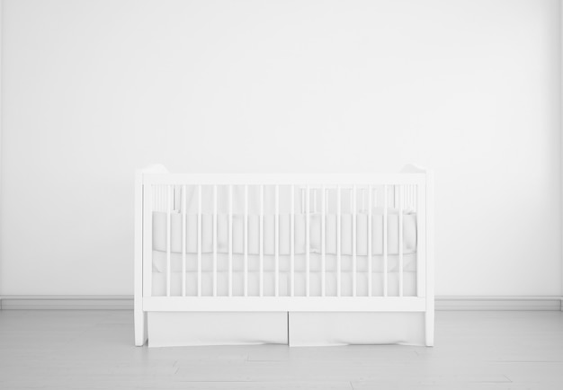 Realistyczna biała sypialnia dla dziecka z kołyską