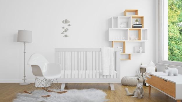 Realistyczna biała sypialnia dla dziecka z oknem i kołyską