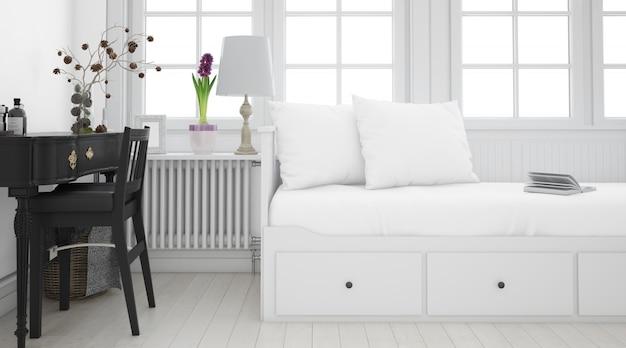 Realistyczna biała sypialnia z meblami