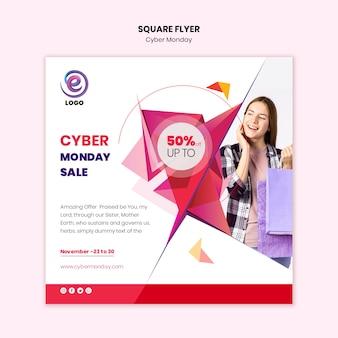 Realistyczna cyber-poniedziałek ulotka kwadratowa