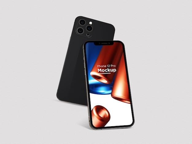 Realistyczna czarna makieta smartfona