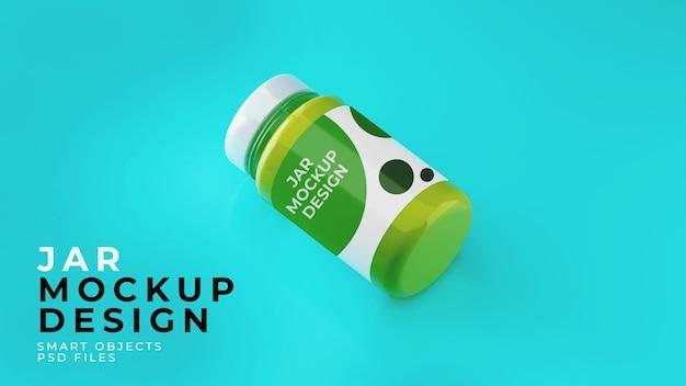 Realistyczna edytowalna makieta szklanego słoika premium psd