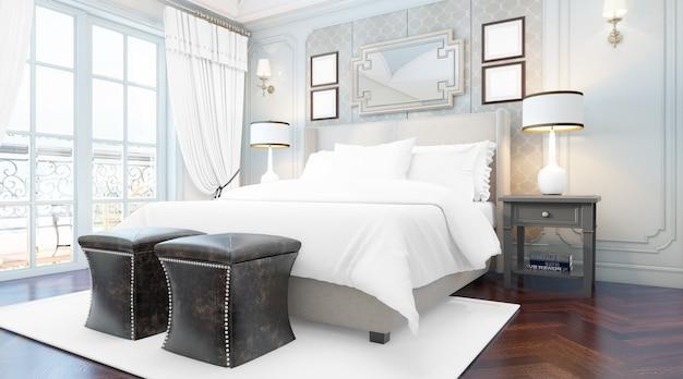 Realistyczna elegancka sypialnia dwuosobowa z meblami i dużymi oknami