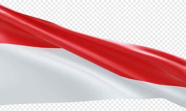 Realistyczna flaga indonezji izolowana czerwona i biała wstążka