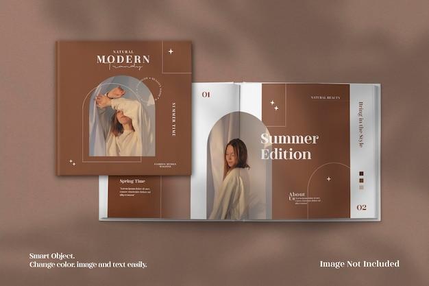 Realistyczna i minimalistyczna makieta kwadratowego magazynu lub katalogu broszur