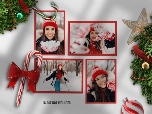 Realistyczna i minimalistyczna makieta moodboard lub makieta papierowej ramki na zdjęcia na wesołych świąt i szczęśliwego nowego roku