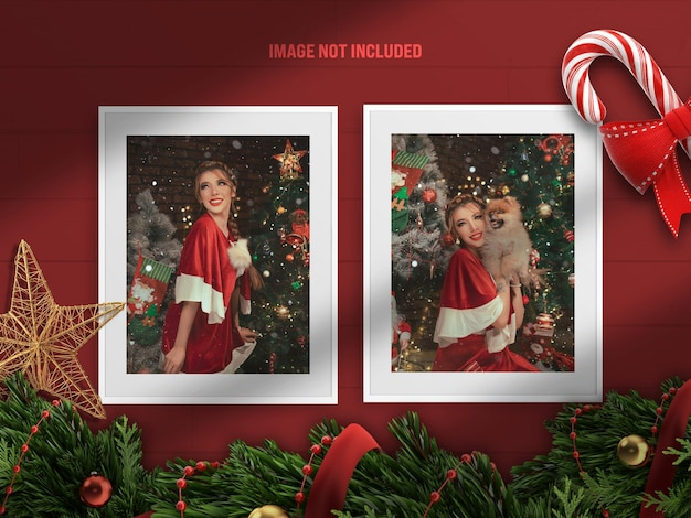 Realistyczna i minimalistyczna makieta ramki na zdjęcia lub moodboard na wesołych świąt i szczęśliwego nowego roku z dekoracją renderowania 3d