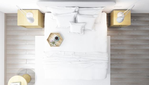 Realistyczna jasna nowoczesna sypialnia dwuosobowa z meblami
