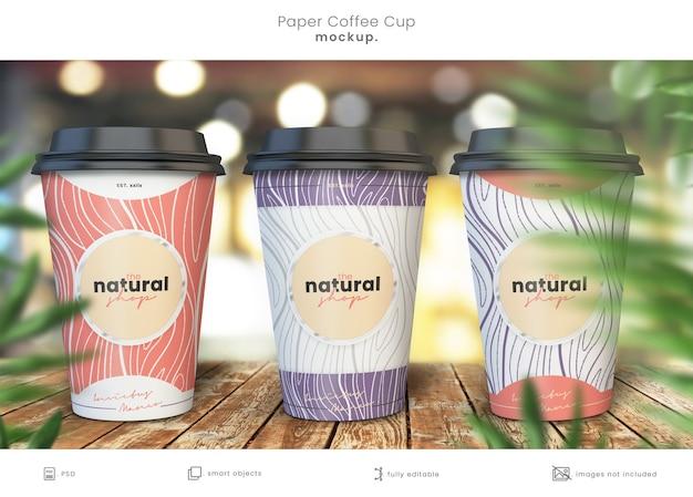 Realistyczna kolekcja makiet papierowych filiżanek do kawy