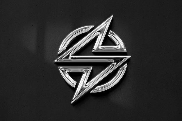 Realistyczna makieta 3d chromowanego logo