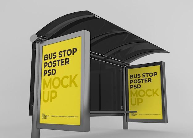 Realistyczna makieta billboardu na przystanku autobusowym