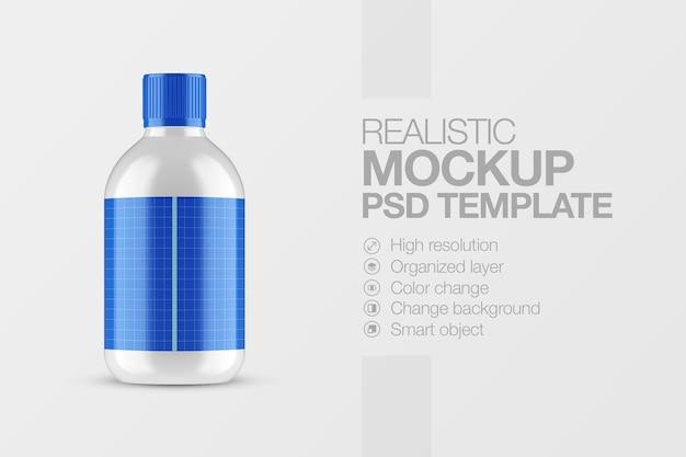 Realistyczna makieta błyszczącej plastikowej butelki
