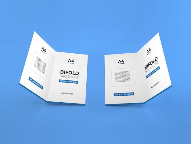 Realistyczna makieta broszur bifold a4