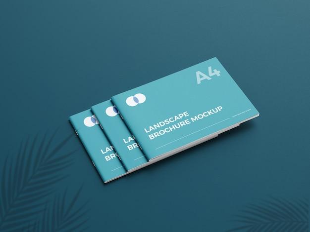 Realistyczna makieta broszury a4 landcape