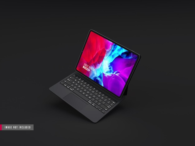 Realistyczna makieta ciemnego tabletu pro z klawiaturą