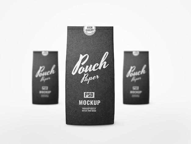 Realistyczna makieta czarnego woreczka z kawą