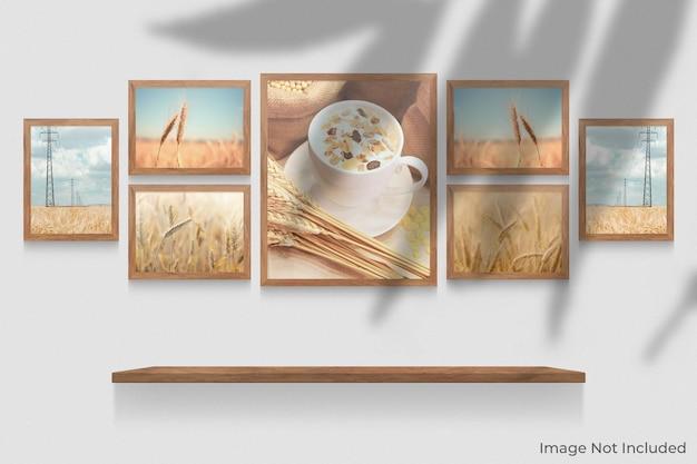 Realistyczna makieta drewnianych ramek wisząca na ścianie z nakładką cienia