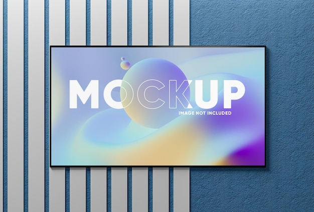 Realistyczna makieta ekranu telewizora na ścianie