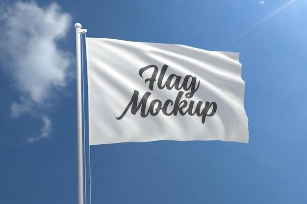 Realistyczna makieta flagi z błękitnym niebem