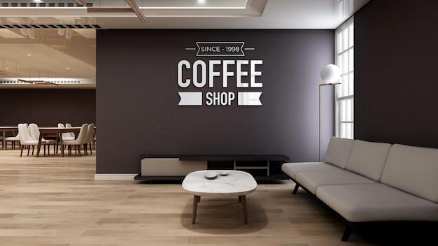 Realistyczna makieta logo 3d na ścianie w kawiarni z sofą