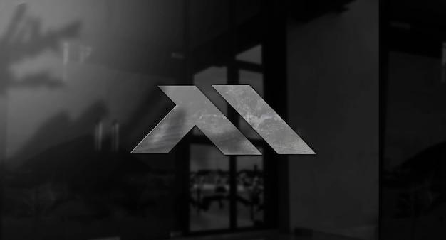Realistyczna makieta logo 3d w ścianie