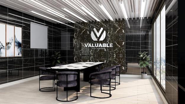 Realistyczna makieta logo firmy 3d w sali spotkań biznesowych w biurze