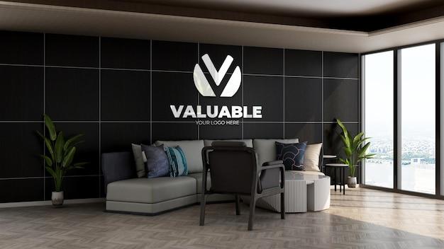 Realistyczna makieta logo firmy w holu biurowym poczekalnia na relaks