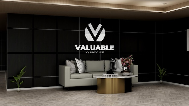 Realistyczna makieta logo firmy w holu biurowym poczekalnia z sofą