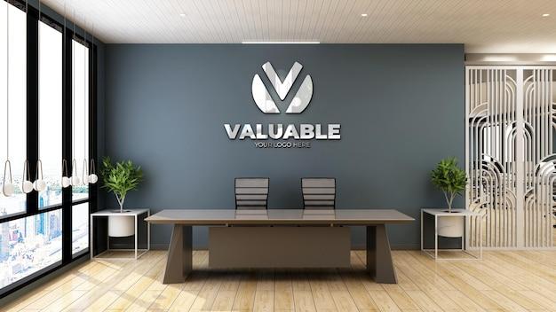 Realistyczna makieta logo firmy w recepcji lub pokoju recepcjonisty
