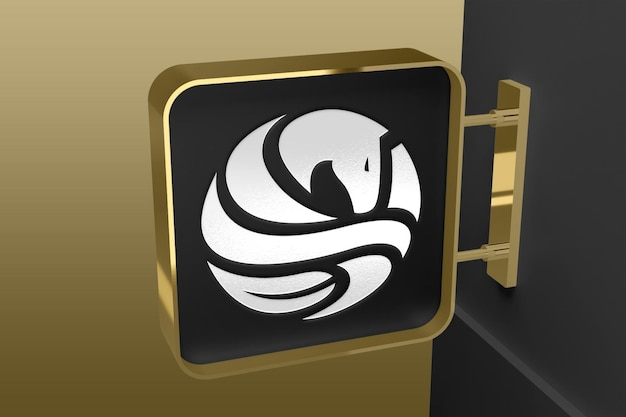 Realistyczna makieta logo na oznakowaniu ściennym