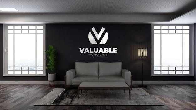 Realistyczna makieta logo na ścianie w drewnianej poczekalni w holu biurowym