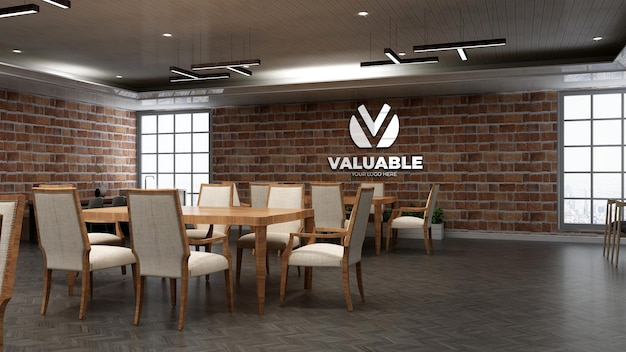 Realistyczna makieta logo restauracji z ceglaną ścianą