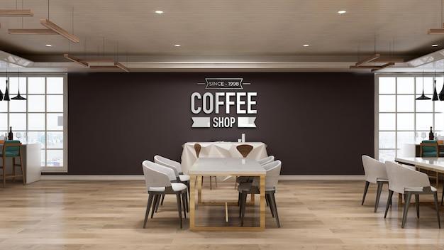 Realistyczna makieta logo ściany 3d w kawiarni