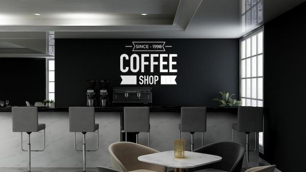 Realistyczna makieta logo ściany 3d w nowoczesnym wnętrzu kawiarni