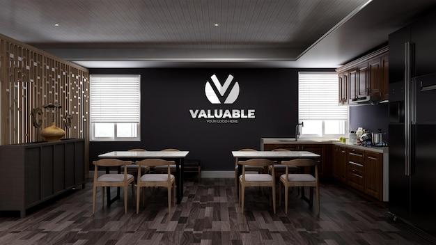 Realistyczna makieta logo ściany 3d w spiżarni biurowej lub w kuchni z drewnianym minimalistycznym wnętrzem