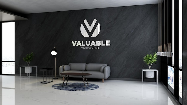 Realistyczna makieta logo w poczekalni w holu biurowym z minimalistycznym wystrojem wnętrza sofy