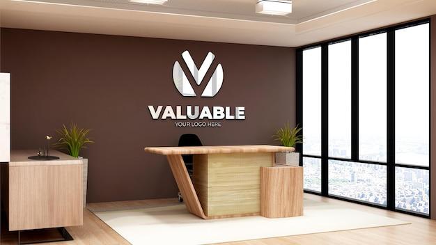 Realistyczna makieta logo w pokoju kierownika biura biznesowego z nowoczesnym wystrojem wnętrz