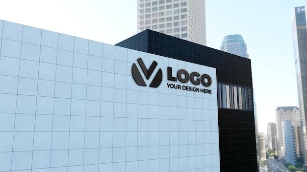 Realistyczna makieta logo znaku 3d z białym budynkiem firmy