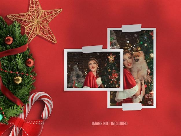 Realistyczna makieta moodboard lub makieta papierowej ramki na zdjęcia na wesołych świąt i szczęśliwego nowego roku