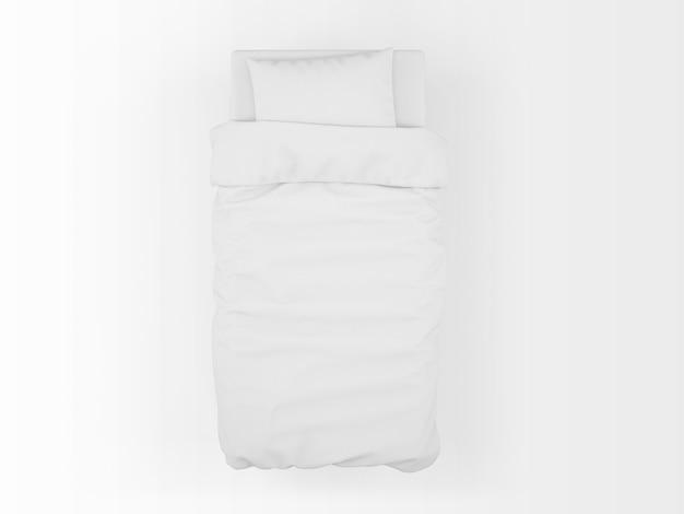 Realistyczna makieta pojedynczego łóżka na widoku z góry