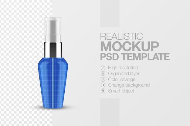 Realistyczna makieta pompy do butelek kosmetycznych z przezroczystą nasadką na białym tle