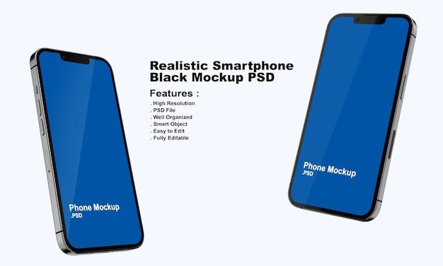 Realistyczna makieta premium czarnego smartfona