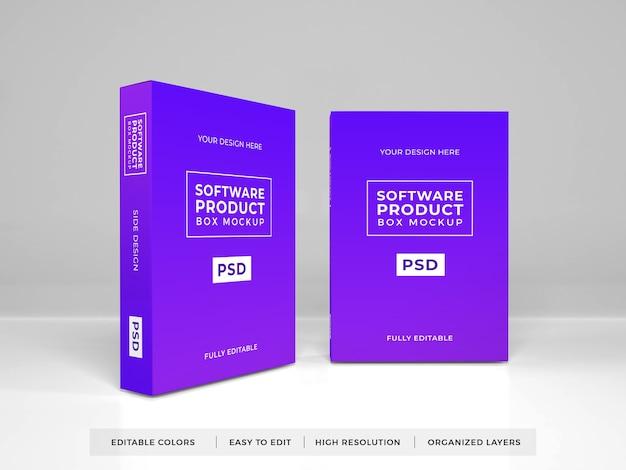 Realistyczna makieta produktu w pudełku z oprogramowaniem