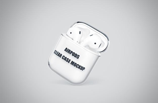 Realistyczna makieta przezroczystej obudowy airpods izolowana