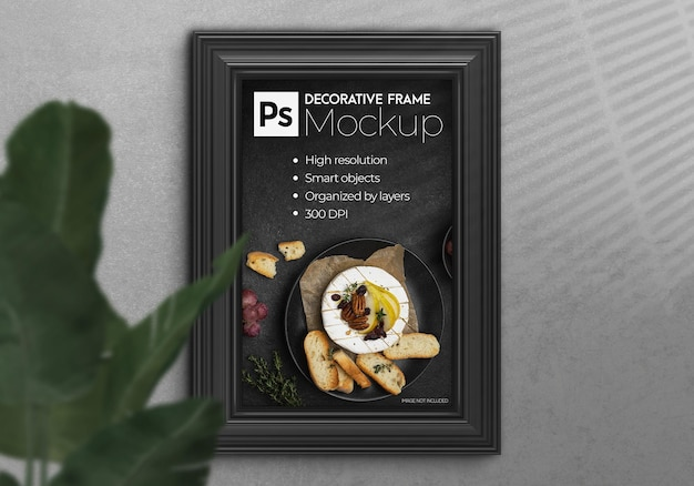 Realistyczna makieta ramki 3d z plakatem ściennym we wnętrzu
